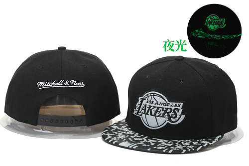 Los Angeles Lakers Black Snapback Noctilucence Hat GS 0620